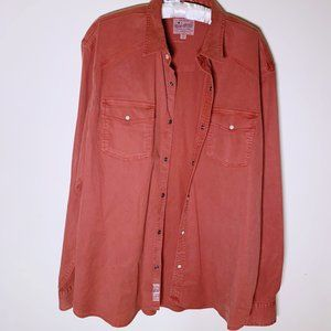 Lucky Brand Rust Color Button Down with Pearl Snap